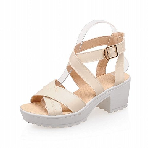 Platform Sweet Heel Sandals Cute Candy Buckle Mid Beige Womens Chunky Carolbar Color Fashion Chic X1PHH48