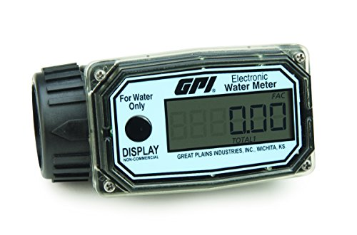 GPI 113255-5, 01N31LM Aluminum Turbine Water Flowmeter with Digital LCD Display, 10-100 LPM, 1-Inch FNPT ()