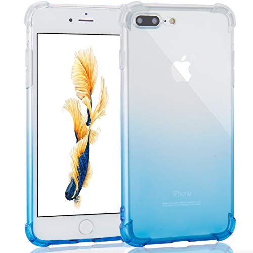 Crystal Clear Blue Case - Case for iPhone 7 Plus/iPhone 8 Plus, Uhans Crystal Clear Gradient Shock Absorption Technology Bumper Ultra Thin Shell Soft TPU Cover Case for iPhone 7 Plus/ 8 Plus-Gradient Blue