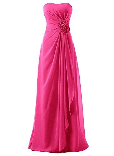 Anlin Women's Long Strapless Empire Draped Chiffon Bridesmaid Evening Dress Hot Pink US14