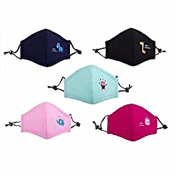 Ligart Kids Anti Pollution Mask with Activated Carbon N95 Filters Dust Mask Filtration Exhaust Gas Anti Pollen Allergy PM2.5 Air Filter Mask for Outdoor Activities 5Pcs
