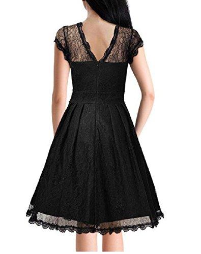 De Confortables Femmes Acceptent Retrol Dentelle Garniture Taille Ajustée Mini-robe Noire Partie