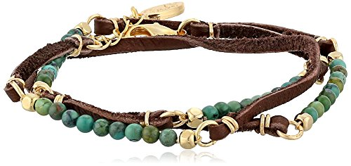 Ettika Turquoise Semi-Precious Stones and Brown Deerskin Leather Wrap Bracelet, 20""