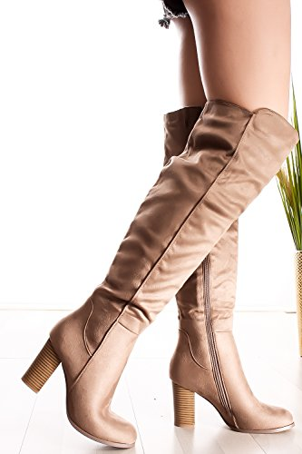 Lolli Couture Forever Link Faux Leather Lace up Long Combat Style with Heel Knee High Long Boots taupe-frances-15