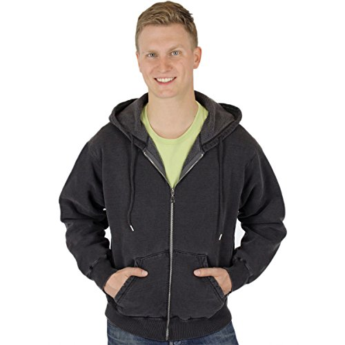 - CottonMill Men's 100% Cotton Hoodie Full Zip Sweatshirt - 20oz Heavy Weight (X-Large, Black)