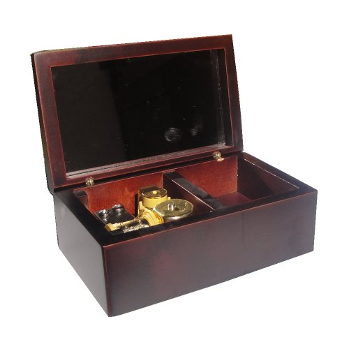 YouTang(TM) 18 Note Wind-up Wooden Musical Box with Mirror, Gold Musical Movement, Model M33 (Claret,Melody:Lilium from Elfen...