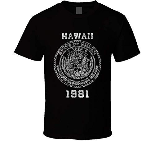 - State Seal 1981 Hawaii State Pride Vintage Look T Shirt L Black Medium