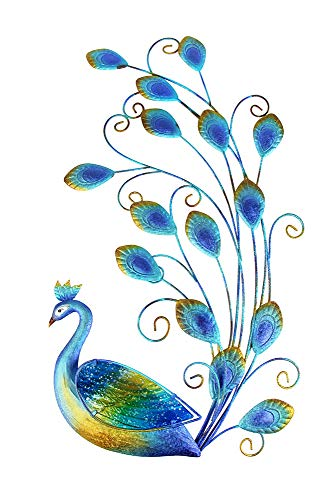 Liffy Peacock Wall Art Outdoor Metal Decorations Glass Hanging Decor Blue for Home Garden Living Room