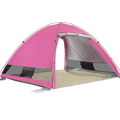 G4Free Outdoors Large Pop Up Beach Tent Instant Easy Up Cabana Large 3-4 Person Anti UV Portable Automatic Sun Shelter For Sport Fishing(PINK)