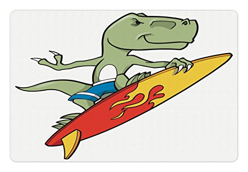 Food and Water by Lunarable, Funny Surfing Trex in Water Plain Background Safari Cool Fictional Artwork, Rectangle Non-Slip Rubber Mat for Dogs and Cats, Green Red Yellow (T-rex Reptile Bowl)