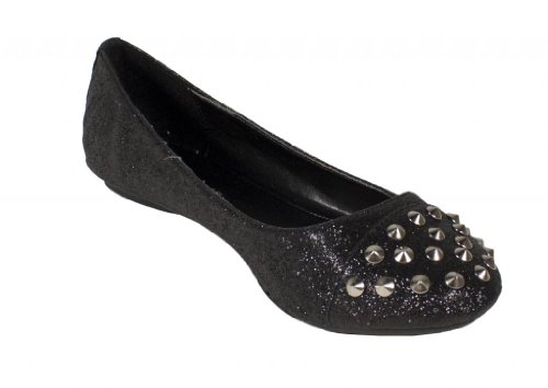 Gloria! By City Classified Trendy and Comfy Round Toe Oxford Ballet Flats with Edgy Stud Embellishment and Detail Stitching in Black Glitter 3EhDPpA3n1