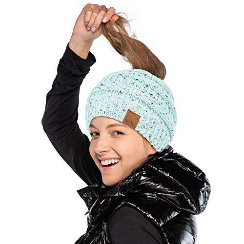 C.C Ribbed Confetti Knit Beanie Tail Hat for Adult (MB-33) (Mint)