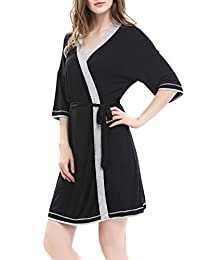 Women's Bathrobe Soft Kimono Cotton Knit Robe Piping Sleepwear by Nara Twips XS-XL