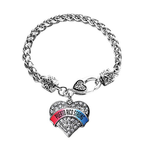 - Inspired Silver - Puerto Rico Strong Braided Bracelet for Women - Silver Pave Heart Charm Bracelet with Cubic Zirconia Jewelry