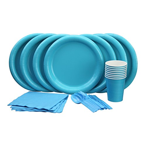Lovely Turquoise Party Set! Includes Turquoise- Island Blue Dinner Plates, Cutlery, Napkins and Cups