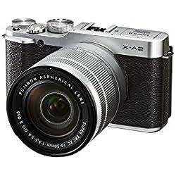 Fujifilm X-A2 Obiettivo XC16-50 MM F3.5-5.6 OIS II e Fotocamera Digitale da 16 Megapixel, Sensore CMOS APS-C, Ottiche Intercambiabili, Argento/Nero