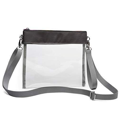 iSPECLE Clear Purse, Clear Bag Stadium Approved for Football Game, BTS Concert, Design with Shoulder Strap and Wrist Strap, Use as a Fashion Crossbody Bag or Handbag for Ladies Grey