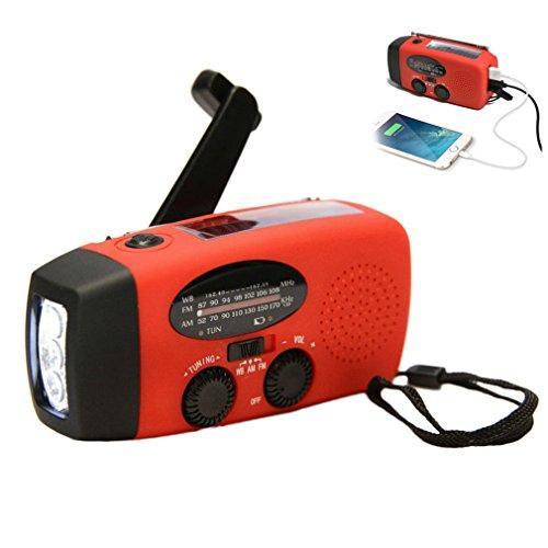 Buwico Multifunctional Solar Hand Crank Dynamo Self Powered AM/FM/NOAA Weather Radio Use As Emergency LED Flashlight and Power Bank Dynamo Led Radio