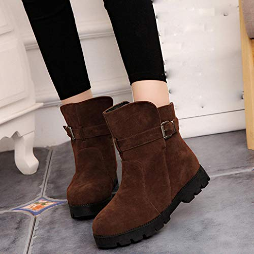 nkle Boots Buckle Boots Flat Wedge Boots Shoes Round Toe Boots ()