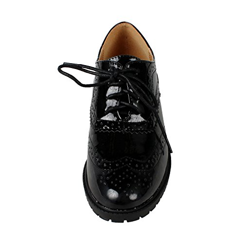 Forever Gd61 Mujeres Lace Up Low Chunky Heel Zapatos Casuales Oxford, Color: Black Patent, Tamaño: 7.5