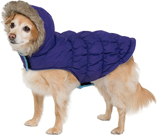 Friends Forever Navy Blue Quilted Vest Cozy Waterproof Windproof Winter Jacket Coat Sweater Hoodie Furry Collar Citron Harness Pet Puppy Dog Christmas Clothes Costume Outwear Coat Apparel Cat (Small) for $<!--$13.99-->