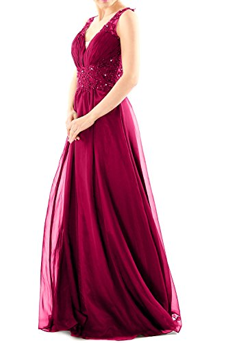 Long Neck Gown Evening Ball Lace Women Fuchsia Dress MACloth V Prom Chiffon Party Formal EpXqwT