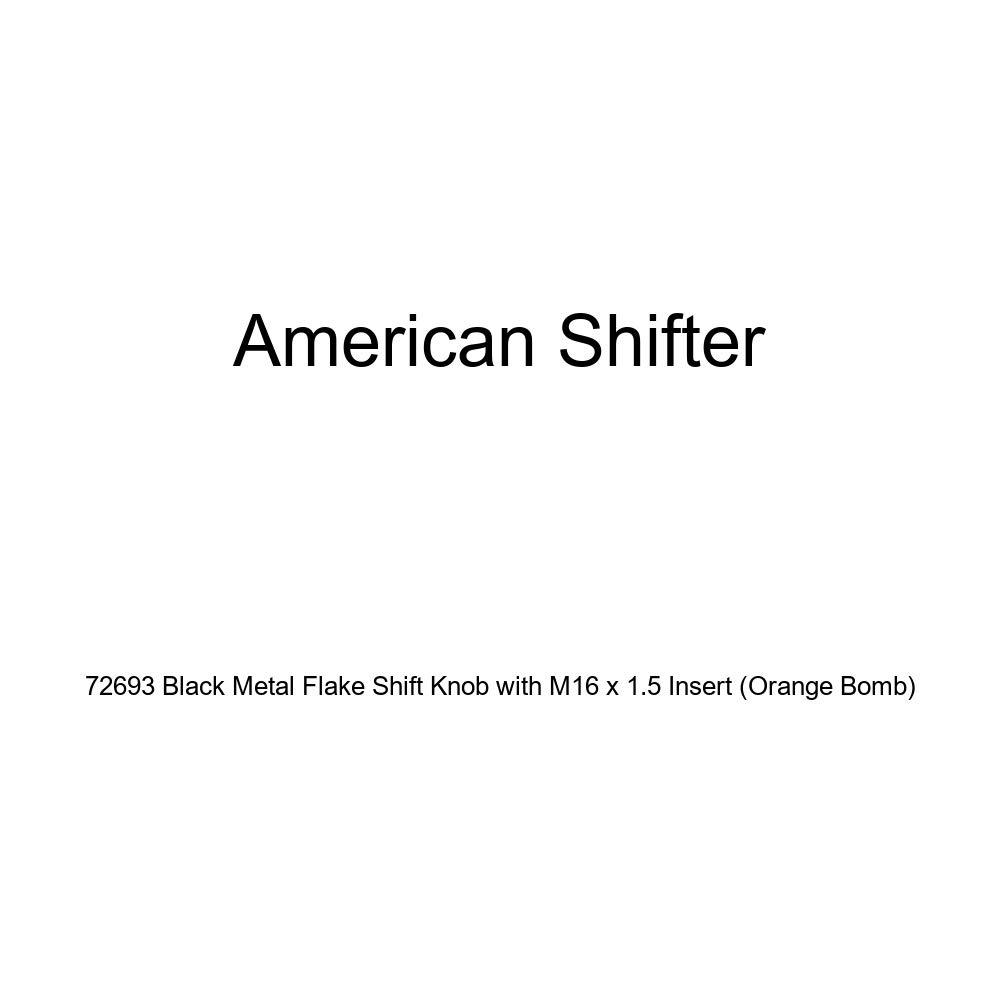 Orange Bomb American Shifter 72693 Black Metal Flake Shift Knob with M16 x 1.5 Insert