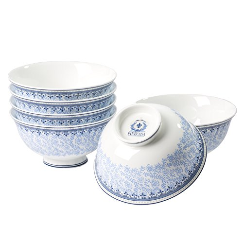 Finecasa Chinese Style Personalized Design Bone China Blue Dream Series 4.5 inch Soup or Rice Bowl Set of 6 in a Box