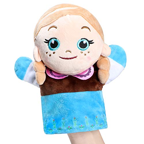 Snow Queen Anna Hand Puppet Soft Plush Frozen Toys Gift for Kids Baby Toddlers