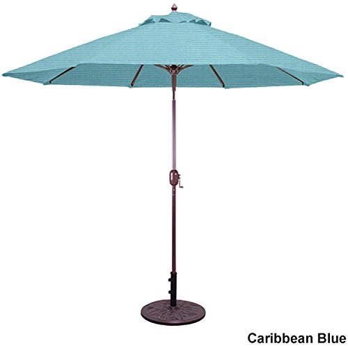 Galtech 9 ft. Crank Lift with Manual Tilt Umbrella Caribbean Blue Shade