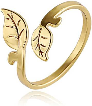 CHUANGYUN Simple New Fashion Leaf Rings Easy Wear Adjustable Ring Mini Rings
