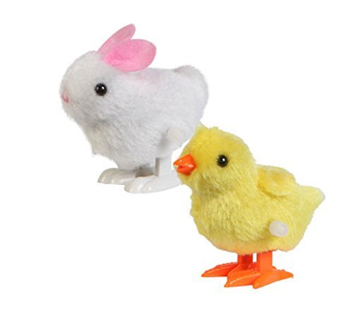 Chicks and Bunnies Plush Wind-up Hopping Friends, 3