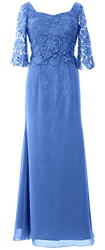 MACloth Women Half Sleeve Long Mother of the Bride Dress Evening Formal Gown Azul