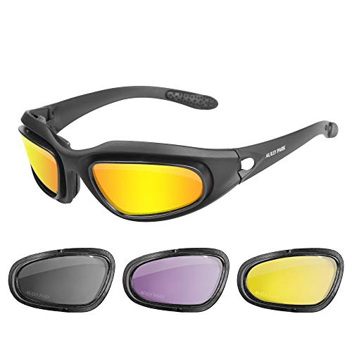 AULLY PARK Polarized Motorcycle Riding Glasses Black Frame with 4 Lens Kit for Outdoor Activity Sport ()