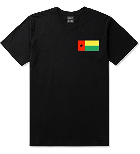 Guinea Bissau Flag Country Chest T-Shirt Large Black