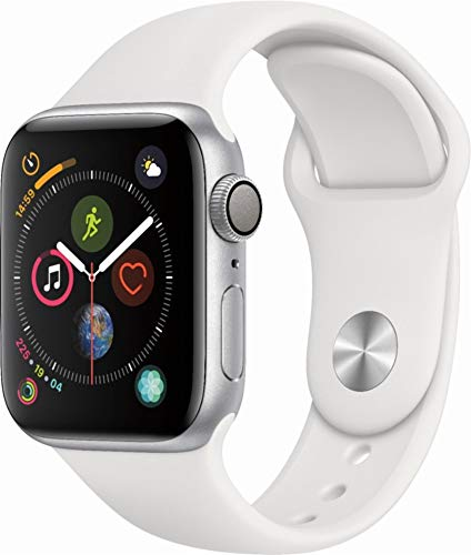 Apple Watch Series 4 (GPS only) Aluminum Case Compatible with iPhone 5s and Above (Silver Aluminum case with White Sport Band, 40mm)