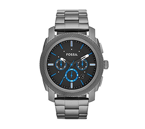 Fossil Men's 45mm Machine Chronograph Watch In Smoke With Blue Accents