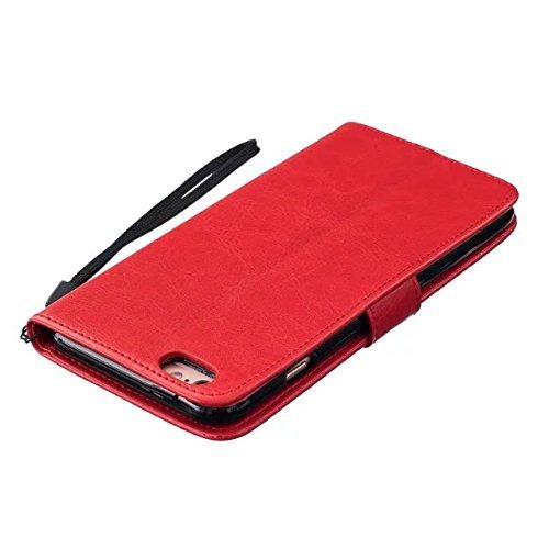 SRY-Caso sencillo De alta calidad de cuero de la PU superior cubierta de la caja de color sólido dientes de león repujado cartera de la cubierta del caso del soporte para el iPhone 6 más 6S Plus Prote Red