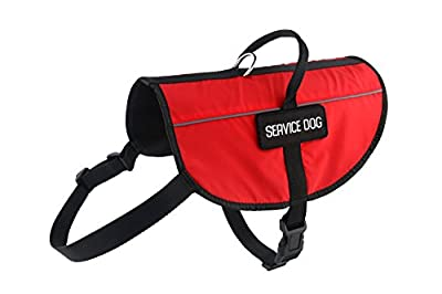 Petdogree Lightweight Reflective Red Service Dog Vest/Harness with Handle and Removable Patches (XS, S, M, L, XL)