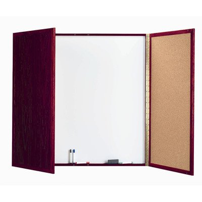 - Cabinet Enclosed Whiteboard Frame Finish: Walnut, Size: 3' H x 3' W