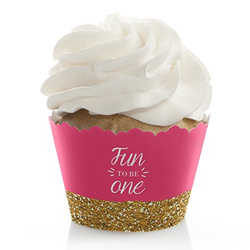 Fun to be One - 1st Birthday Girl - Birthday Party Decorations - Party Cupcake Wrappers - Set of 12 1st Cupcake Centerpiece