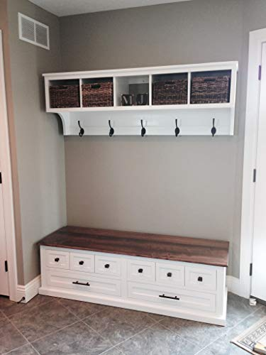 Entryway Cubby and Bench, Wall Storage Cubical with Matching Bench, Hallway Coat Rack and Boot -