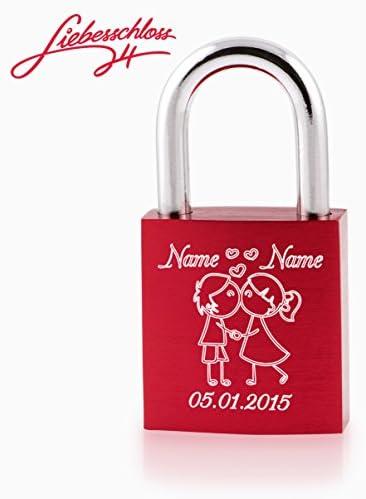 [Gesponsert]Liebesschloss24™ Liebesschloss Rot mit persönlicher Diamant-Gravur ♥ 1 Schlüssel ♥ Gratis Geschenkbeutel