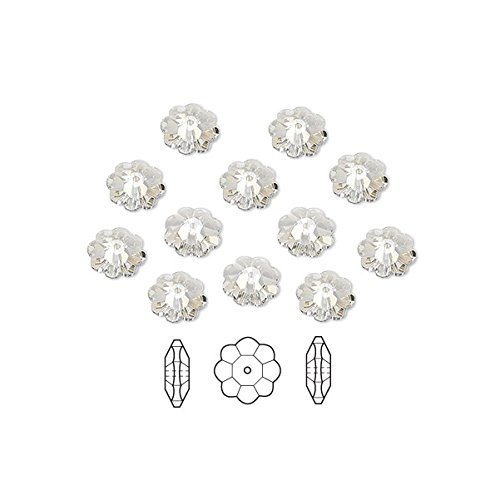 Crystal Shade 12 Silver - Swarovski Crystal Beads Faceted Marguerite Flower 3700 Silver Shade 8x3mm Package of 12