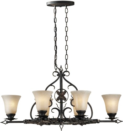 Forte Lighting 2357-06-64 Chandelier with Mica Flake Glass Shades, 23