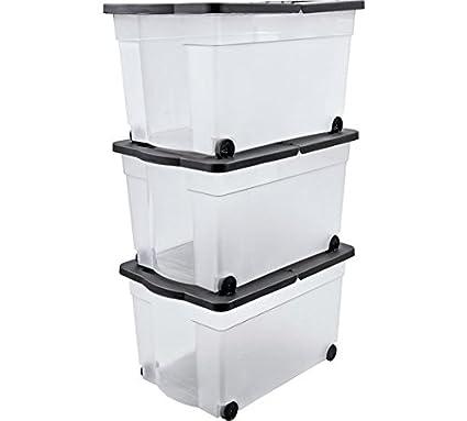 65 litros caja de almacenaje con tapa de plástico con ruedas - juego de 3, tamaño H34, 5, W41, D61cm.: Amazon.es: Industria, empresas y ciencia