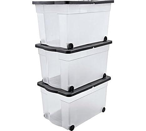 65 litros caja de almacenaje con tapa de plástico con ruedas ...