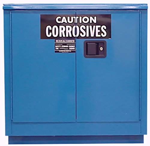 SECURAL C124 Acid/Corrosive Storage Cabinet, 24 Gallon Cap, 18-Gauge Steel, 36 x 35 x 22 in, 2-Door, FM Approved, OSHA/NFPA Comp, 1 Adj. Shelves, 15 YR Warranty - Blue