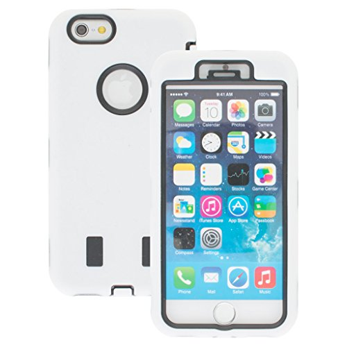 New Apple iphone 6 Case cover Durable Shockproof Armor Case 3in1 Combo Rigid PC + Soft Silicone Protective Case (White)