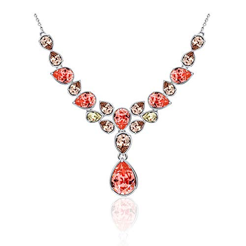 J'ADMIRE 17.5 carats Swarovski Crystal Rose Peach Pear-Bazel Statement Necklace, Platinum Plated Sterling - Peach Necklace Crystal